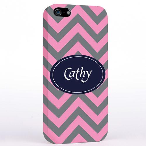 Personalized Grey & Carol Chevron iPhone Case