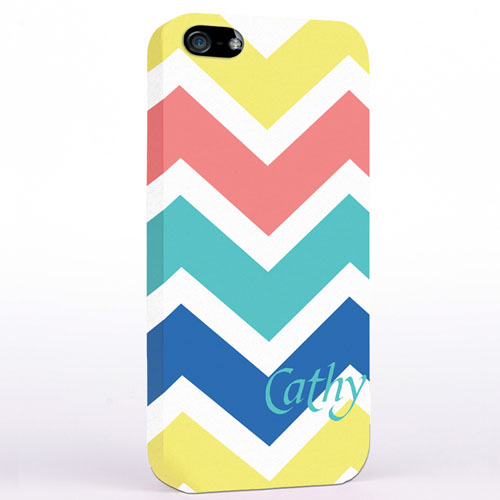 Personalized Yellow Carol Blue Chevron iPhone Case