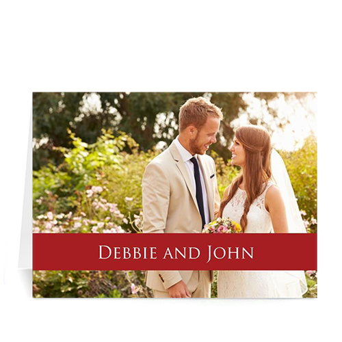 Personalized Classic Red Photo Wedding Cards, 5X7 Folded Causal