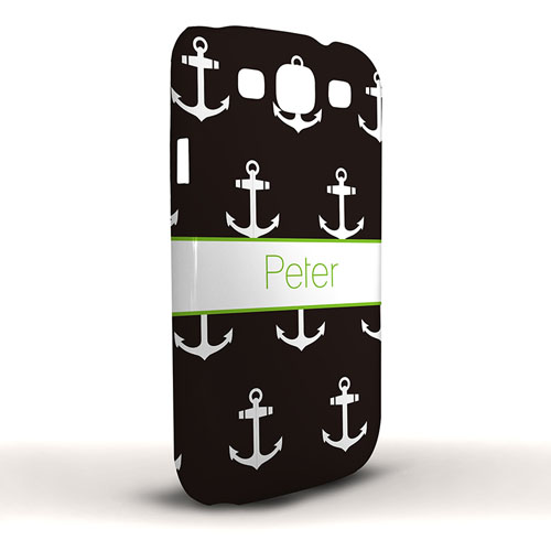 Design Your Own Black Cute Anchors Samsung Phone Case Cover