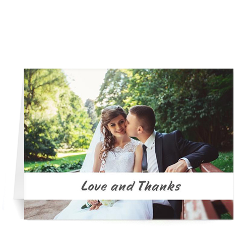 Personalized Classic White Photo Wedding Cards, 5X7 Folded Causal