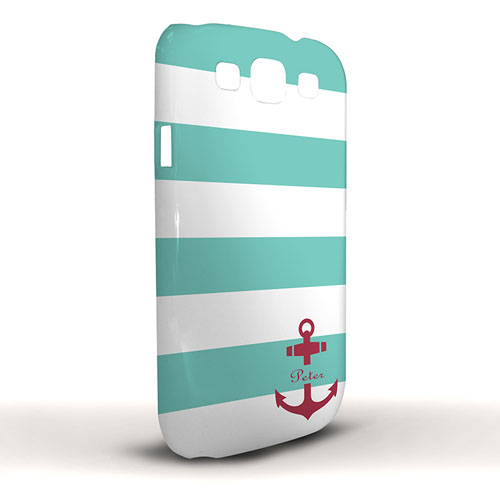Design Your Own Aqua Stripe Red Anchor Samsung Phone Case Cover