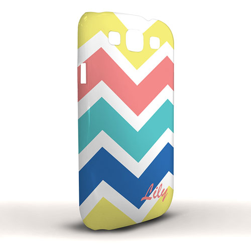 Design Your Own Yellow Carol Blue Chevron Samsung Phone Case Cover
