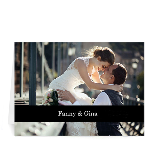 Personalized Classic Black Photo Wedding Cards, 5X7 Folded Causal