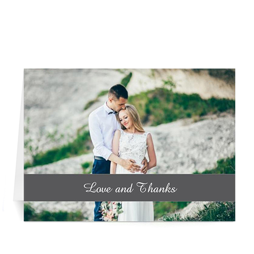 Personalized Classic Grey Photo Wedding Cards, 5X7 Folded Causal