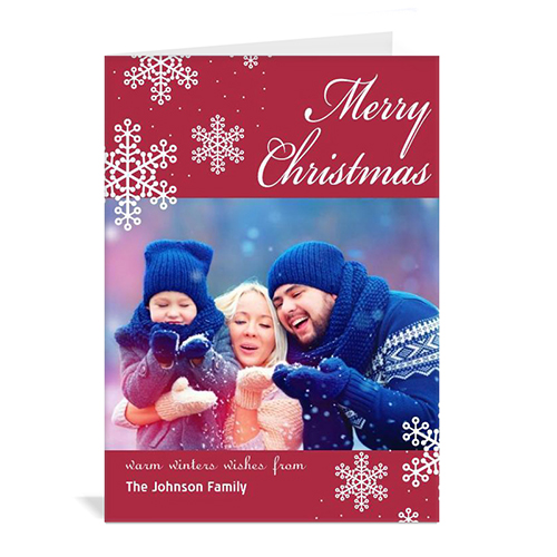 Personalized Snowy Holiday Red Christmas Card
