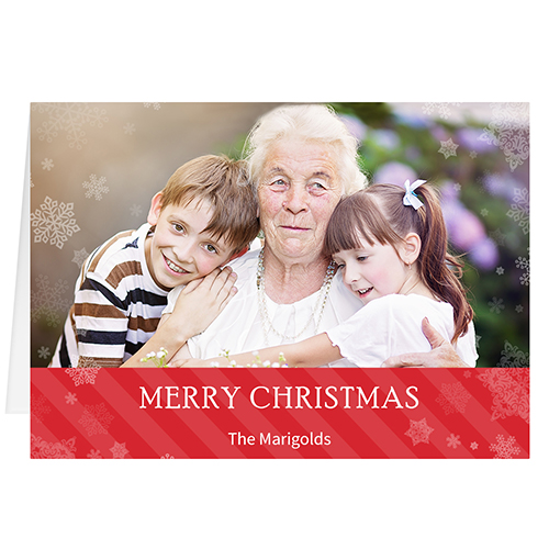 Personalized Christmas Cards.Let It Snow Red Personalized Christmas Greeting Card
