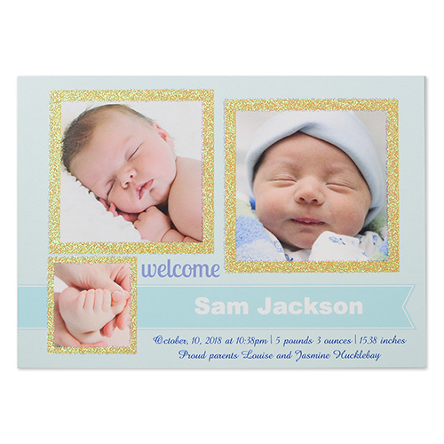 Glitter Welcomed Wonder Boy Personalized Photo Birth Announcement