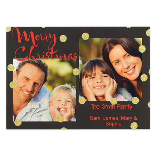 Personalized Glitter Merry Christmas Party Invitation Card
