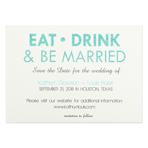 Personalized Eat Drink Be Married Invitation Cards