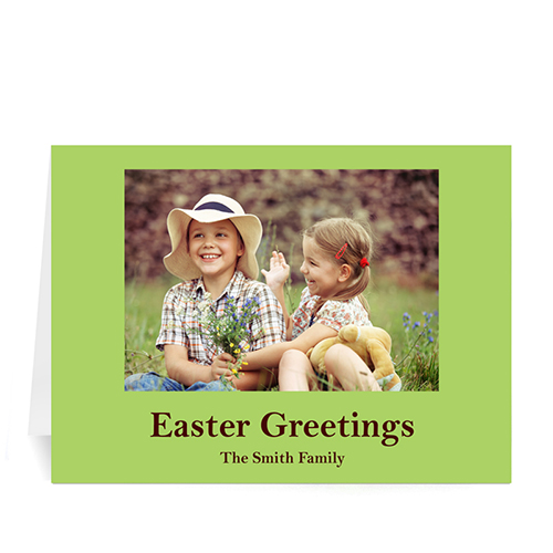 Easter Green Photo Greeting Cards, 5x7 Folded