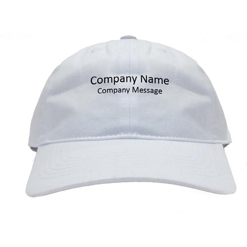 Custom Imprint Baseball Cap Company Name White