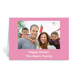 Personalized Easter Pink Photo Greeting Cards, 5X7 Folded