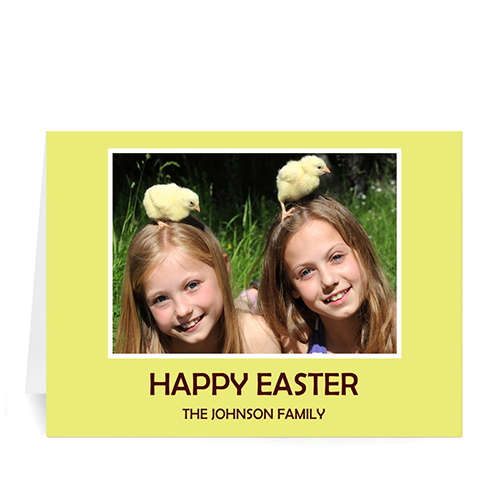 Personalized Easter Yellow Photo Greeting Cards, 5X7 Folded