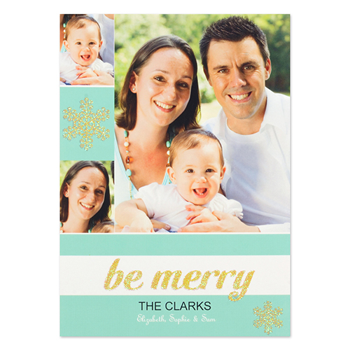 Personalized Snow Be Merry Gold Glitter Invitation Cards