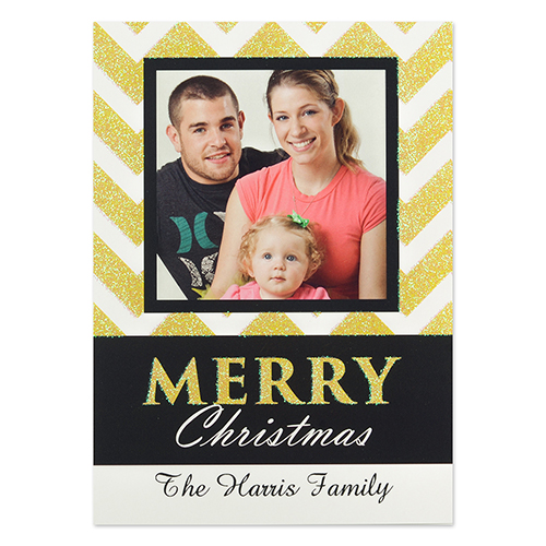 Personalized Chevron Glitter Christmas Invitation Cards