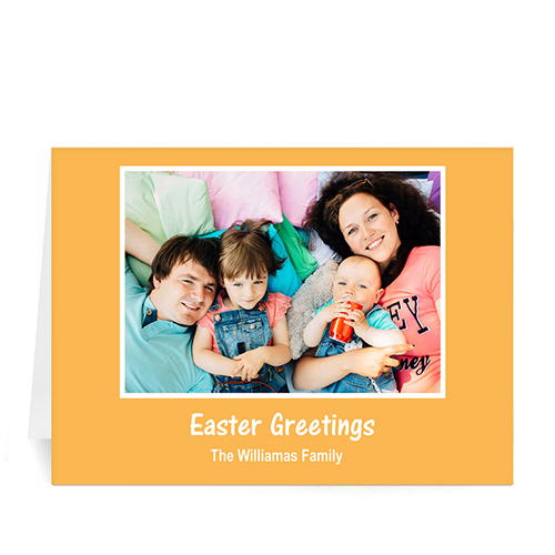 Personalized Easter Orange Photo Greeting Cards, 5X7 Folded