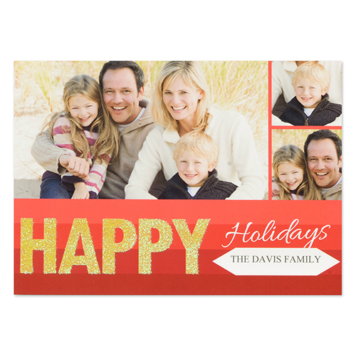 Personalized Happy Glitter Holiday Invitation Cards