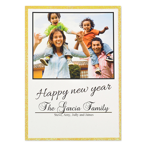 Personalized Happy Glitter Year Invitation Cards