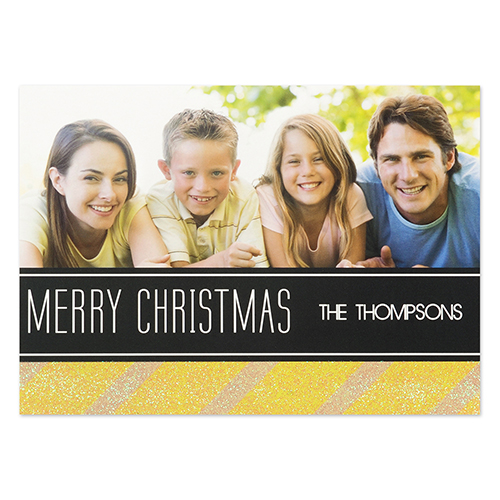 Personalized Gold Stripe Christmas Invitation Cards