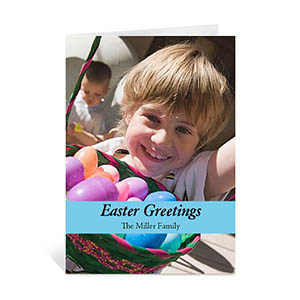 Easter Blue Photo Greeting Cards, 5x7 Portrait Folded Causal