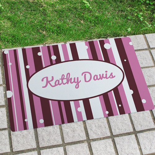 Stripe And Polka Dots Personalized Name Door Mat
