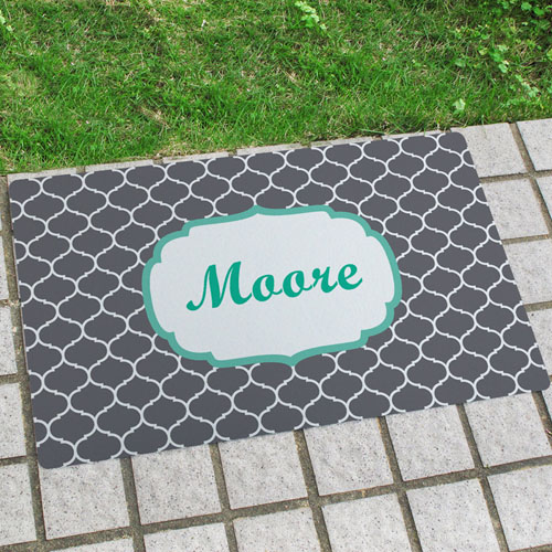 Grey Moroccan Personalized Name Door Mat