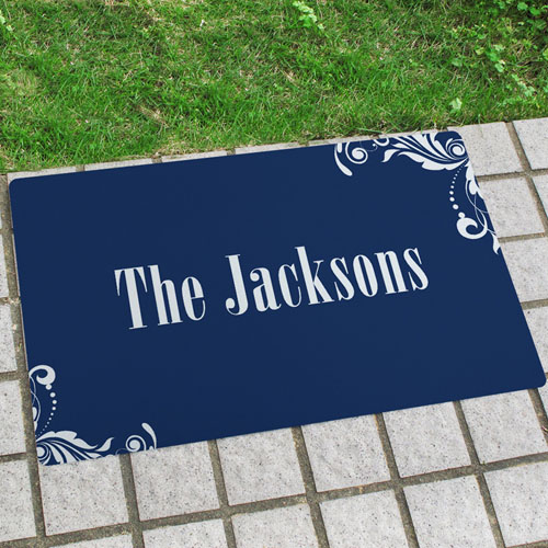 Navy Floral Pattern Personalized Name Door Mat