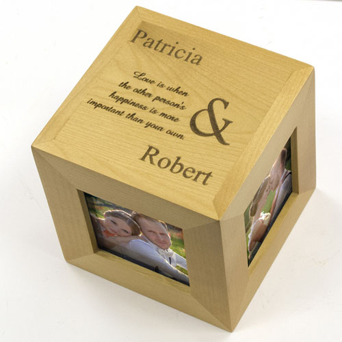 Engraved Our Love Wood Photo Cube