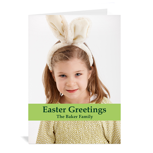 Personalized Easter Green Photo Greeting Cards, 5X7 Portrait Folded Causal