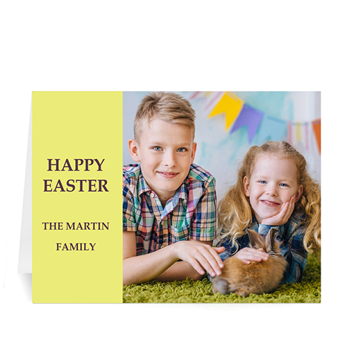 Personalized Easter Yellow Photo Greeting Cards, 5X7 Folded Modern