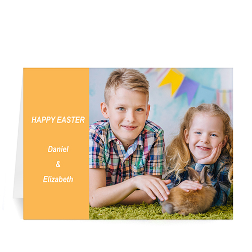 Personalized Easter Orange Photo Greeting Cards, 5X7 Folded Modern