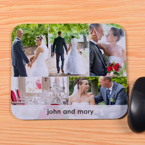 Personalized 5 Collage And Message Mouse Pad