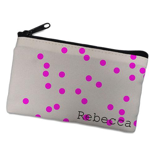 Fuchsia Natural Polka Dots Personalized Cosmetic Bag