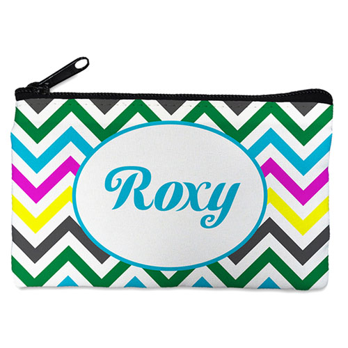 Personalized Yellow Colorful Chevron Cosmetic Bag (4