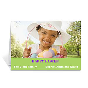 Personalized Easter Green Photo Greeting Cards, 5X7 Folded Simple