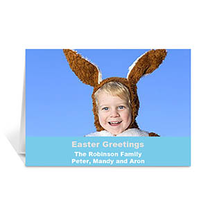 Personalized Easter Blue Photo Greeting Cards, 5X7 Folded Simple