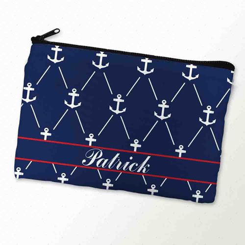 Custom Printed Navy White Anchor Zipper Bag