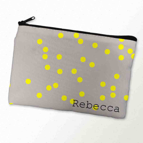 Custom Printed Yellow Natural Polka Dots Zipper Bag