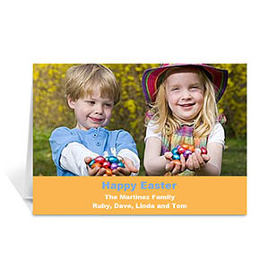 Personalized Easter Orange Photo Greeting Cards, 5X7 Folded Simple