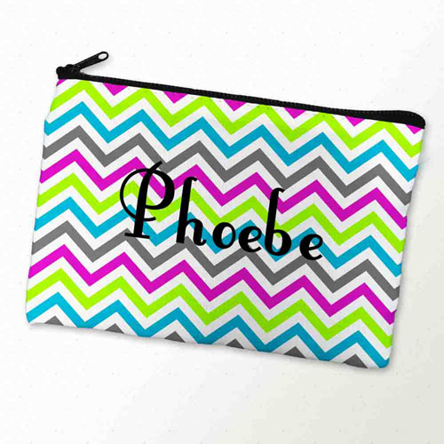 Custom Printed Colorful Chevron Pattern Zipper Bag