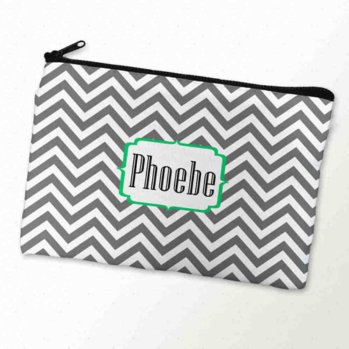 Custom Printed Grey And Green Monogrammed Zipper Bag