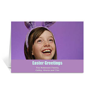 Easter Purple Photo Greeting Cards, 5x7 Folded Simple