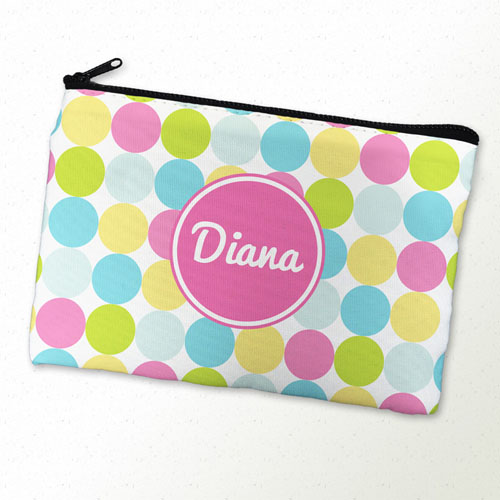 Custom Printed Pink Colorful Dot Zipper Bag