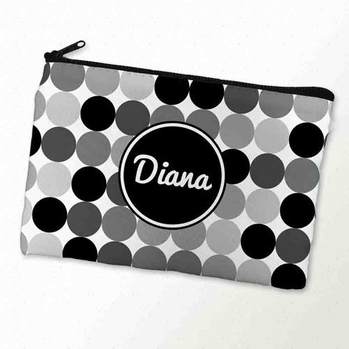 Custom Printed Black And Grey Dot Zipper Bag