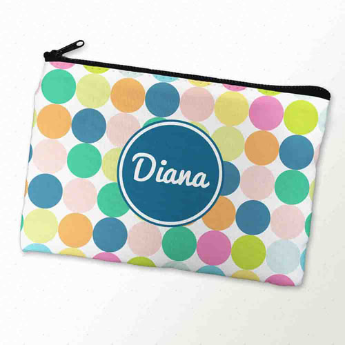 Custom Printed Navy White Large Dots Zipper Bag