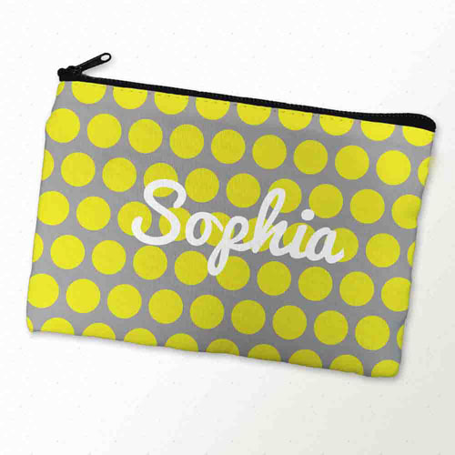 Custom Printed Yellow Grey Large Dots Zipper Bag