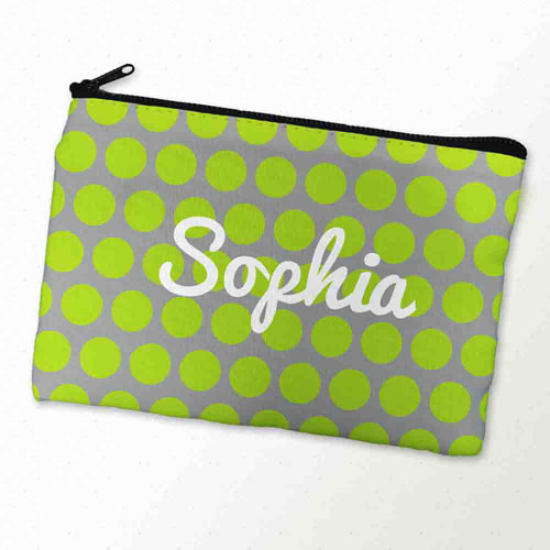 Custom Printed Lime Grey Large Dots Zipper Bag