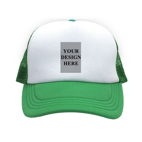 Portrait Image And Message Custom Trucker Hat, Green