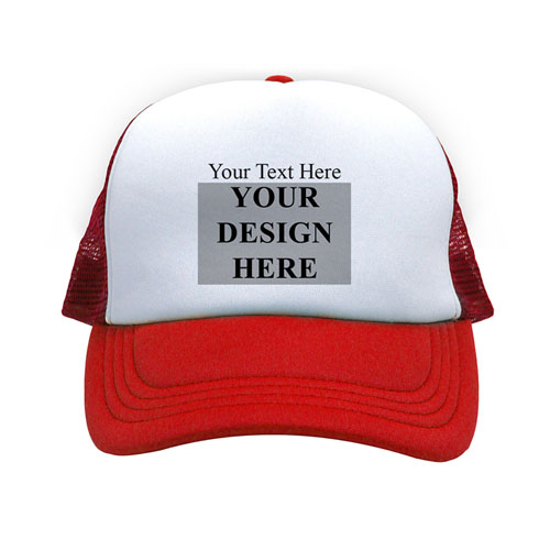 Landscape Image & Text Custom Trucker Hat, Red